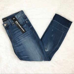 Express Mid Rise Distressed Super Skinny Jeans